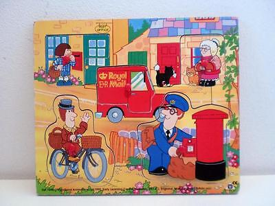 Vintage Kids TV Postman Pat Character Wooden Tray Puzzle 1990s