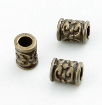 50pcs dark silver tone 6mm long spacer beads h3647