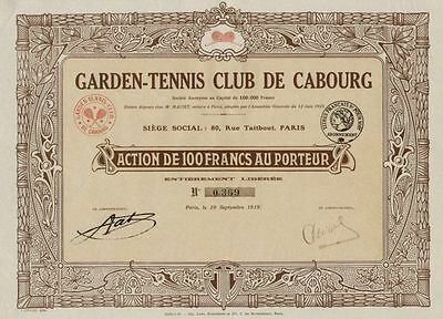 Garden Tennis Club De Cabourg 1919 Max Bertrand Paris 100 Francs Titres Anciens