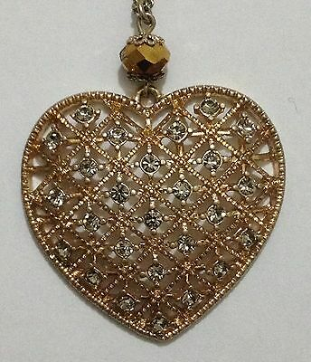 VINTAGE 1940's GOLD CHAIN NECKLACE with faux Diamond Studded Heart Pendant Mint