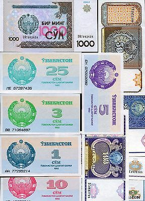 UZBEKISTAN Lot with 11 different uncirculated banknotes FREE SHIPPING