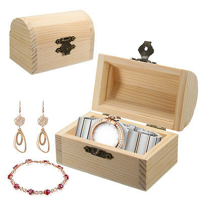 Small Plain Wooden Box Jewelry Organizer Storage Box Case Gadgets Wood Color LW