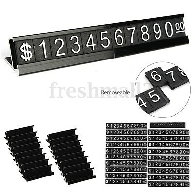 Black Base Adjustable Number Letter Price Display Counter Stand Tag Label Set