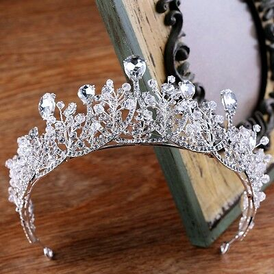 6.5cm High Clear Drip Crytal Beads Wedding Bridal Party Pageant Prom Tiara Crown