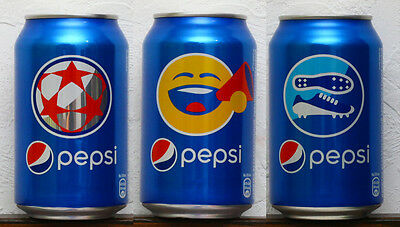 lot of 3 Pepsi UEFA 2016 Russian release 0,33L cans bottom opened
