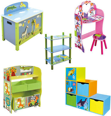 Toy Storage Unit Kids Chair Canvas Drawers Bookcase Girl Boy Bedroom Furniture