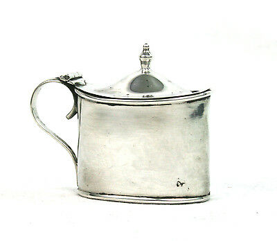 Antique Edwardian Sterling Silver Mustard Pot Oval Glass Liner Birmingham 1910
