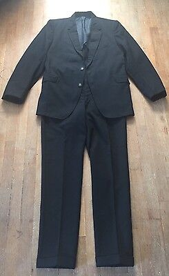 Vtg 1950s 1960s Men's Suit Mod Black Wool  Skinny Lapel/Pants University Hall