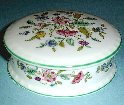 Minton HADDON HALL Round Trinket Box Lidded Floral Green Trim Made in UK New