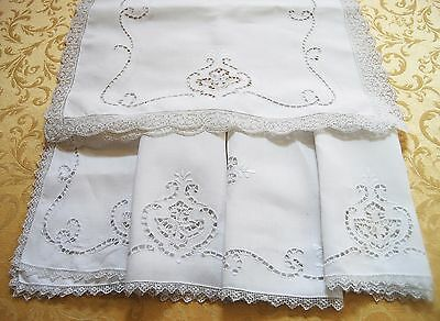 Vintage Linen Table White Runner Place Mats Cutwork Large Floral Scroll Lot 5