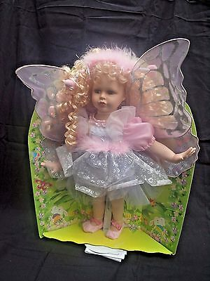 """Enchanted Garden Fairy Porcelain Doll w/ Stand 16"""""""