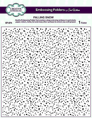 "CREATIVE EXPRESSIONS 8X8"" Embossing Folder FALLING SNOW Sue Wilson EF-074"
