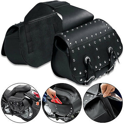 Studded Motorcycle Custom Cruiser Panniers Saddlebags Pair Black