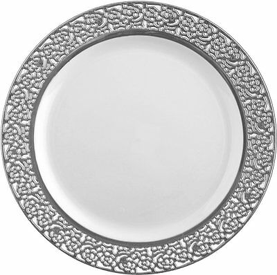 Elegant Wedding Party Disposable Plastic Plates Inspiration White - Silver 10Pc