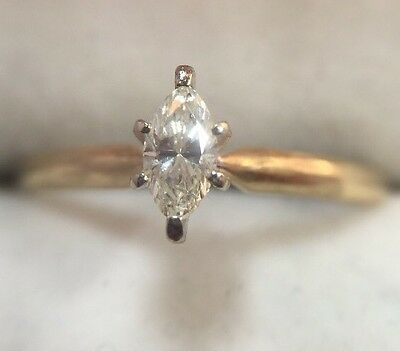 14k Yellow Gold 1/3 Ct Diamond SI1 Marquise Solitaire Engagement Wedding Ring 9