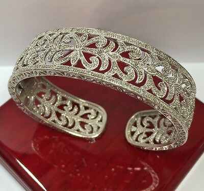 Rare $999 Designer Sterling Silver Diamond Filigree Pave Cuff Bangle Bracelet 7""
