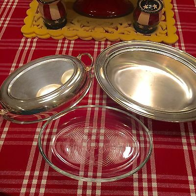 Vinage Silver Plated Handled Covered Serving Dish Glass insert Sheffield Silver