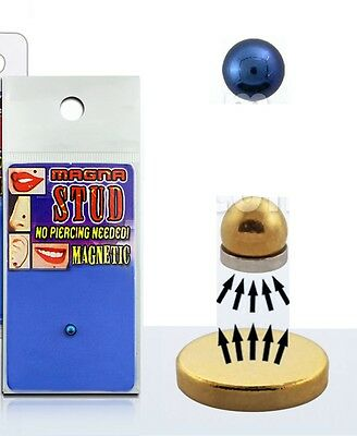 Fake Illusion Magnet Monroe Nose Ear Lip Stud Non Piercing Magnetic Ball in Blue