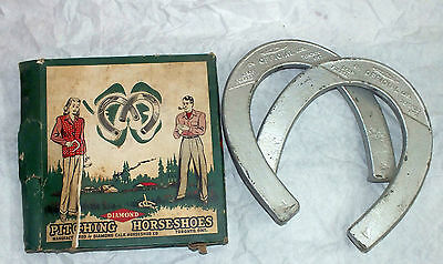 Original Diamond Pitching Horseshoes Silver 2 1/2 pounds 1 Pair A Box Game