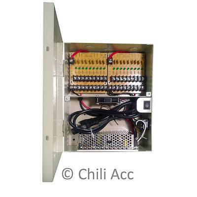 115V AC In 12V DC 12 Amp Output 18 Ports PTC Protected Power Distribution Box