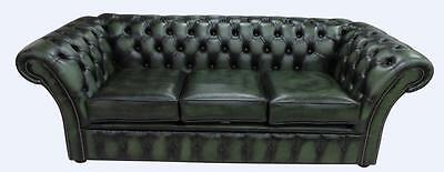 Chesterfield Balmoral 3 Seater Antique Green Leather Sofa Settee