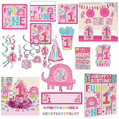 Wild Fun To Be One Pink Girl's 1st Birthday Party Supplies Tableware Listing
