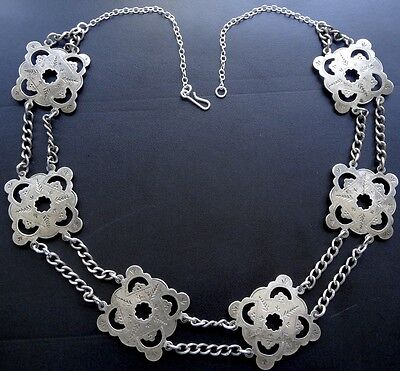 antique Edwardian 1903 hallmark STERLING SILVER panel chain collar necklace -N32