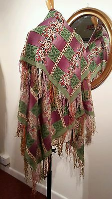 Very old vintage wool shawl with fringe