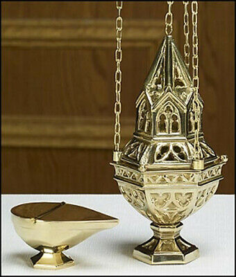 "Brass Ornate Censer Sacred Vessel on 36"" Chain with Incense Boat Set"