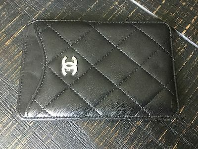Chanel Black Leather Quilted Case Card Holder ID Case $400
