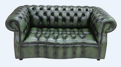 Chesterfield Darcy 2 Seater Buttoned Seat Antique Green Leather Sofa Settee