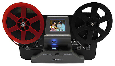 "Wolverine 8mm and Super8 Reels Movie Digitizer with 2.4"" LCD, Black (Film2Digita"