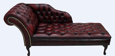 Chesterfield New Buttoned Seat Leather Chaise Lounge Day Bed Sofa AntiqueOxblood