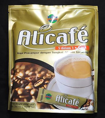 ALICAFE Coffee Drink TONGKAT ALI GINSENG 5 in 1 Pack 20 Sachets