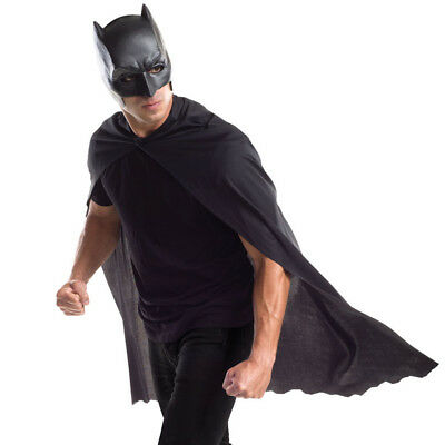 Mens Batman Cape and Mask Adults Superhero Fancy Dress Costume Quality Rubies