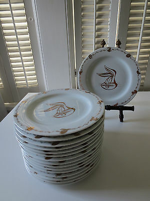 Bugs Bunny Looney Tunes Fine China Porcelain Dish Plate White Gold Home Theater