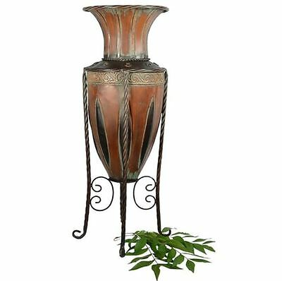 Floor Vase With Stand Tuscan Old World Metal Entryway Planter Home Decor