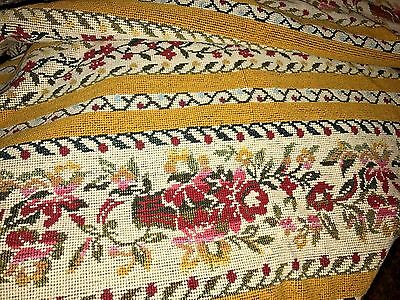 VINTAGE SCALAMANDRE UPHOLSTERY FLORAL NEEDLEPOINT LOOK COTTON 3 yrds FABRIC