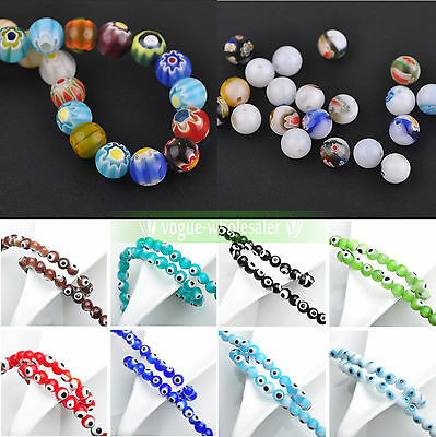6mm EVIL EYE Round Millefiori Ball Glass Loose Spacer Beads Jewelry Findings New