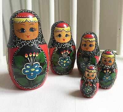 "1960s Vintage Russian nesting doll set  6"" High"