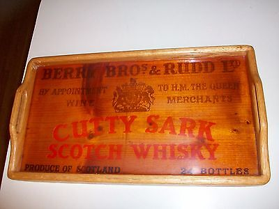 Cutty Sark Scotch Whiskey Wooden Crate Box Side~Wooden Tray~ Berry Bros & Rudd
