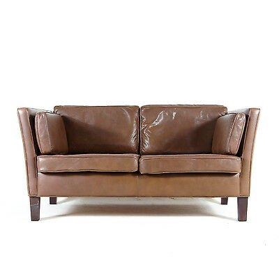 Retro Vintage Danish 2 Seat Seater Leather Rosewood Sofa 50s 60s 70s Mid Century