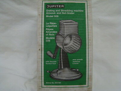 Jupiter Grating and Shredding Machine~Almond & Nut Grater Suction Base Germany