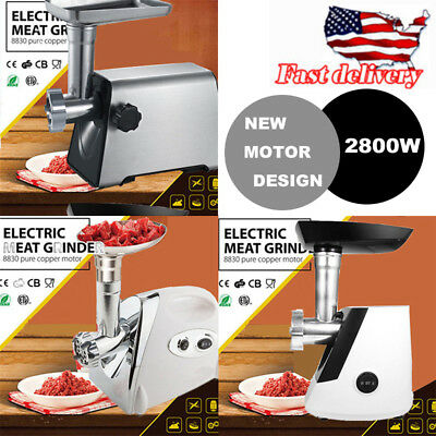 2800 Watt 110V Industrial Electric Meat Grinder Meats Grind 3 Choice w/3 Plates