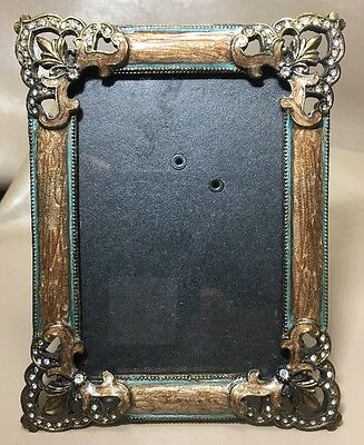 """PICTURE FRAME ENAMELED METAL With Rhinestones Holds 5"""" X 3.5"""" Photo"""