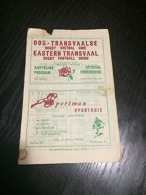 Eastern Transvaal vs British Lions 29/06/1968 VERY RARE