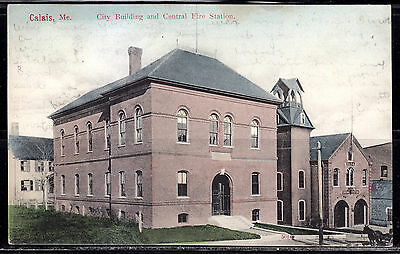 Calais, ME, City Building and Central Fire Station, #5014, Undivided Back, 1906