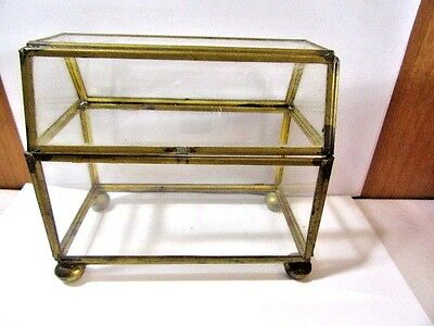 Vintage Glass And Brass Footed Jewelry Box Holder Trinket Mid Century Artsy