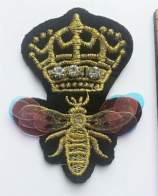 Crystal Sequin Queen Bee Embroidered Patch Applique Gold Iron On Crown Free P &P