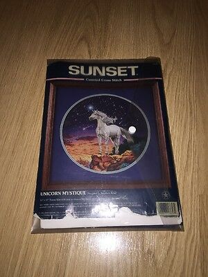 UNICORN MYSTIQUE BY STEPHEN READ SUNSET COUNTED CROSS STITCH KIT - Part Done
